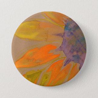 Aquarell-Sonnenblume-Knopf Runder Button 7,6 Cm