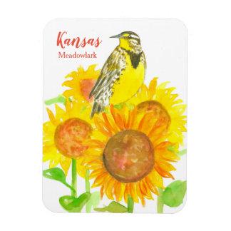 Aquarell-Sonnenblumen Kansas Meadowlark Magnet