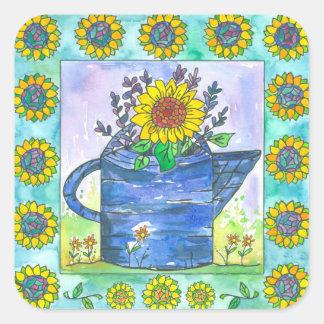Aquarell-Sonnenblumen Quadratischer Aufkleber