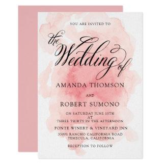 Aquarell-Spritzen der rosa Hochzeits-Einladung Karte
