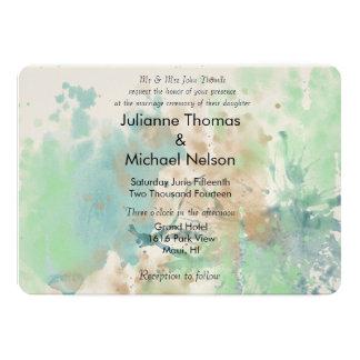 Aquarell-Spritzen-Hochzeit 12,7 X 17,8 Cm Einladungskarte