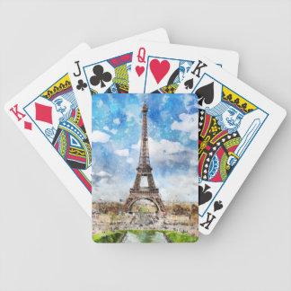 Aquarell-Stadtbild Paris, Eiffel in Richtung zu Bicycle Spielkarten
