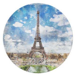 Aquarell-Stadtbild Paris, Eiffel in Richtung zu Melaminteller