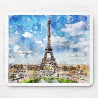 Aquarell-Stadtbild Paris, Eiffel in Richtung zu Mousepad