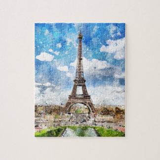 Aquarell-Stadtbild Paris, Eiffel in Richtung zu Puzzle