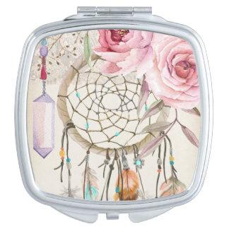 Aquarell Stammes- schicker Dreamcatcher kompakter Taschenspiegel