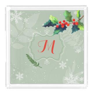 Aquarell-Stechpalmen-Beeren-Feiertags-Monogramm Acryl Tablett