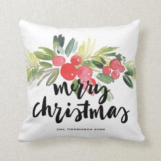 Aquarell-Stechpalmen-Bürste, die frohe Weihnachten Kissen