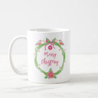 Aquarell-Stechpalmen-Kranz-frohe Weihnachten Kaffeetasse