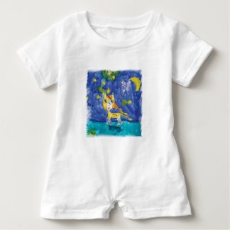 Aquarell-sternenklare Nacht Pegasus mit Schläger Baby Strampler