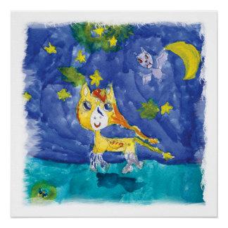 Aquarell-sternenklare Nacht Pegasus mit Schläger Poster