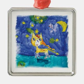 Aquarell-sternenklare Nacht Pegasus mit Schläger Silbernes Ornament