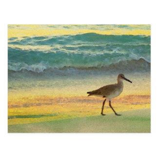 Aquarell-Strand-Sonnenuntergang mit Postkarte