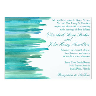Aquarell-Streifen-Hochzeits-Einladung 12,7 X 17,8 Cm Einladungskarte