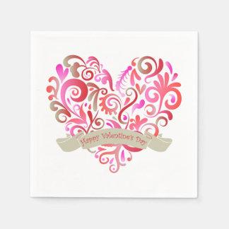 Aquarell-Strudel-Herz-Rosa-GoldValentinstag Papierserviette