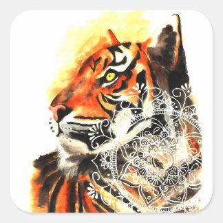 Aquarell-Tiger-Mandala Quadratischer Aufkleber