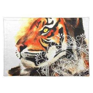 Aquarell-Tiger-Mandala Tischset