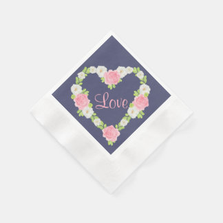 Aquarell-Valentinsgruß-Herz-BlumenKranz Papierservietten