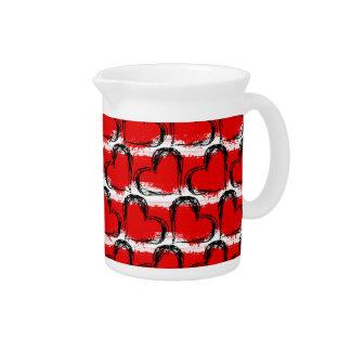 Aquarell-Valentinsgruß-Herzen Getränke Pitcher