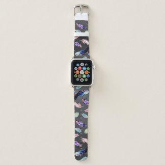Aquarell versieht graues Muster mit Federn Apple Watch Armband