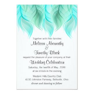 Aquarell versieht Hochzeit mit Federn 12,7 X 17,8 Cm Einladungskarte