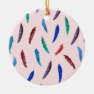 Aquarell versieht Kreis-Verzierung mit Federn Keramik Ornament