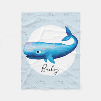 Aquarell-Wal-Strand-Kinder des Jungen blauer See Fleecedecke