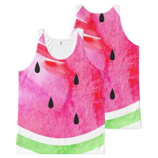Aquarell-Wassermelone Komplett Bedrucktes Tanktop