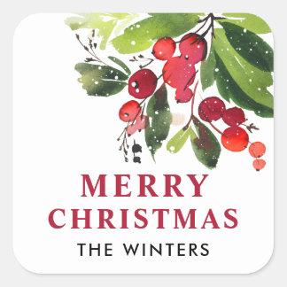 Aquarell-Weihnachten der frohen Weihnacht-| mit Quadratischer Aufkleber
