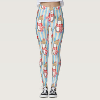 Aquarell-Weihnachten Pinguin Leggings