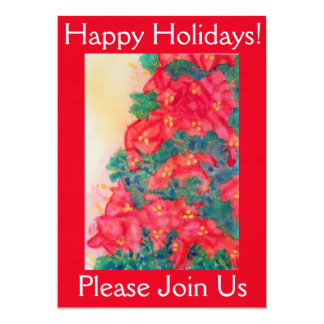 Aquarell-Weihnachtsbaum mit Poinsettias 12,7 X 17,8 Cm Einladungskarte