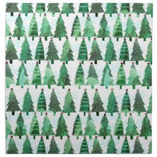 Aquarell-Weihnachtsbaum-Muster-Tischdecke Stoffserviette