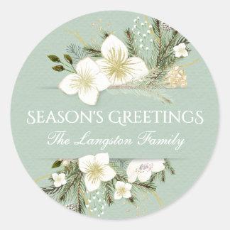 Aquarell-Weihnachtsbotanischer Blumenfeiertag Runder Aufkleber