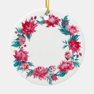 Aquarell-Weihnachtspfingstrosen-Kranz Keramik Ornament