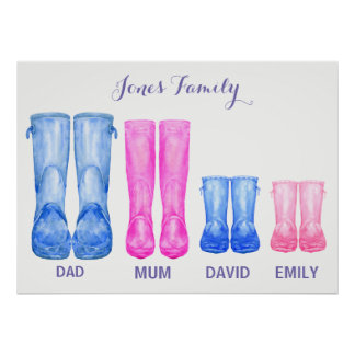 Aquarell wellies meine Familiengummistiefel Poster