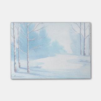 Aquarell-Winter-bloße Baum-Schnee-Szene Post-it Klebezettel