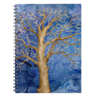 Aquarell-Winter-Eiche Spiral Notizblock
