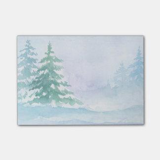 Aquarell-Winter-Grün-Kiefer Post-it Klebezettel
