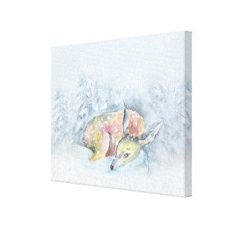Aquarell-Winter-Rotwild im Schnee Leinwanddruck