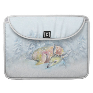 Aquarell-Winter-Rotwild im Schnee MacBook Pro Sleeve