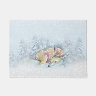 Aquarell-Winter-Rotwild im Schnee Türmatte