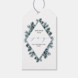 Aquarell-Winter-Tannen-Niederlassungs-Feiertag Geschenkanhänger
