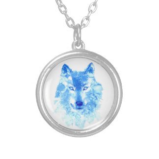 Aquarell-Winter-Wolf-Halskette Versilberte Kette