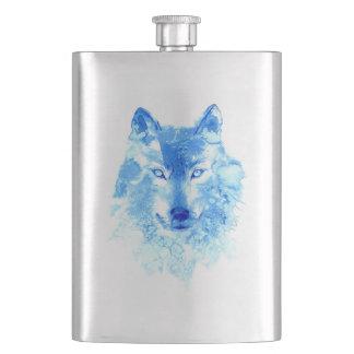 Aquarell-Winter-Wolf-Klassiker-Flasche Flachmann