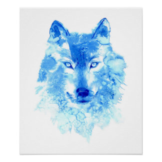 Aquarell-Winter-Wolf-Plakat Poster