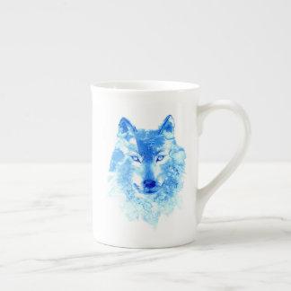 Aquarell-Winter-Wolf-Tee-Schale Porzellantasse