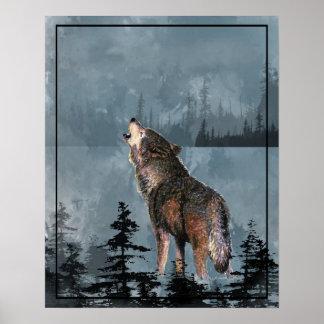 Aquarell-Wolf, der über dem See heult Poster