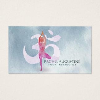 Aquarell-Yoga-Meditations-Lehrer-OM-Symbol Visitenkarte