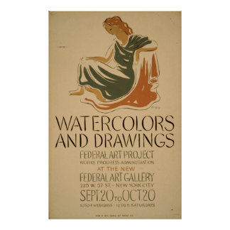 Aquarell-Zeichnungs-Ausstellungs-New- York Poster