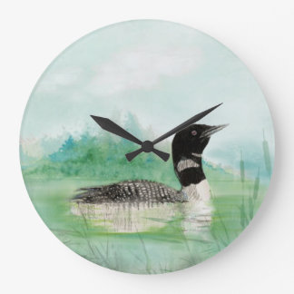 Aquarellallgemeine Loon-Vogel-Natur-Kunst Große Wanduhr